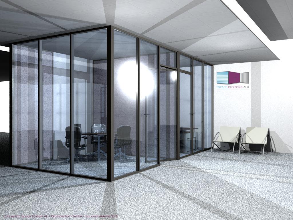 Plan 3D Amenagement de bureau cloisons modulaire du bureau et locaux tertiaire