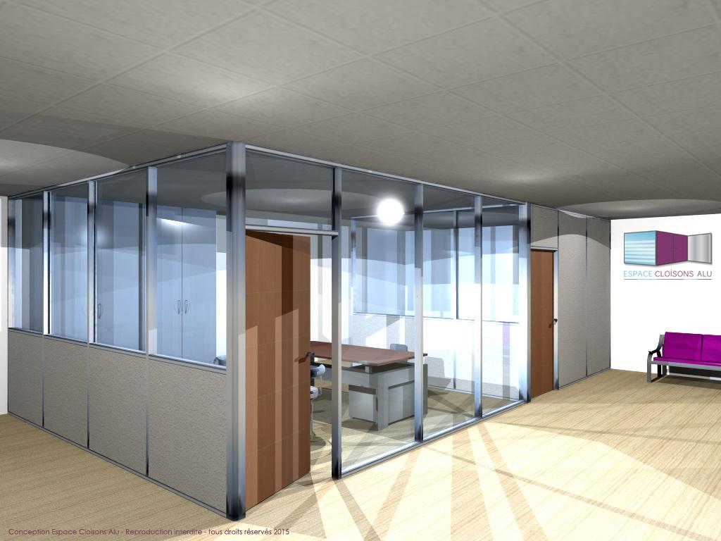Plan 3D Amenagement de bureau cloisons modulaire du bureau vitrée sur allege et toute hauteur
