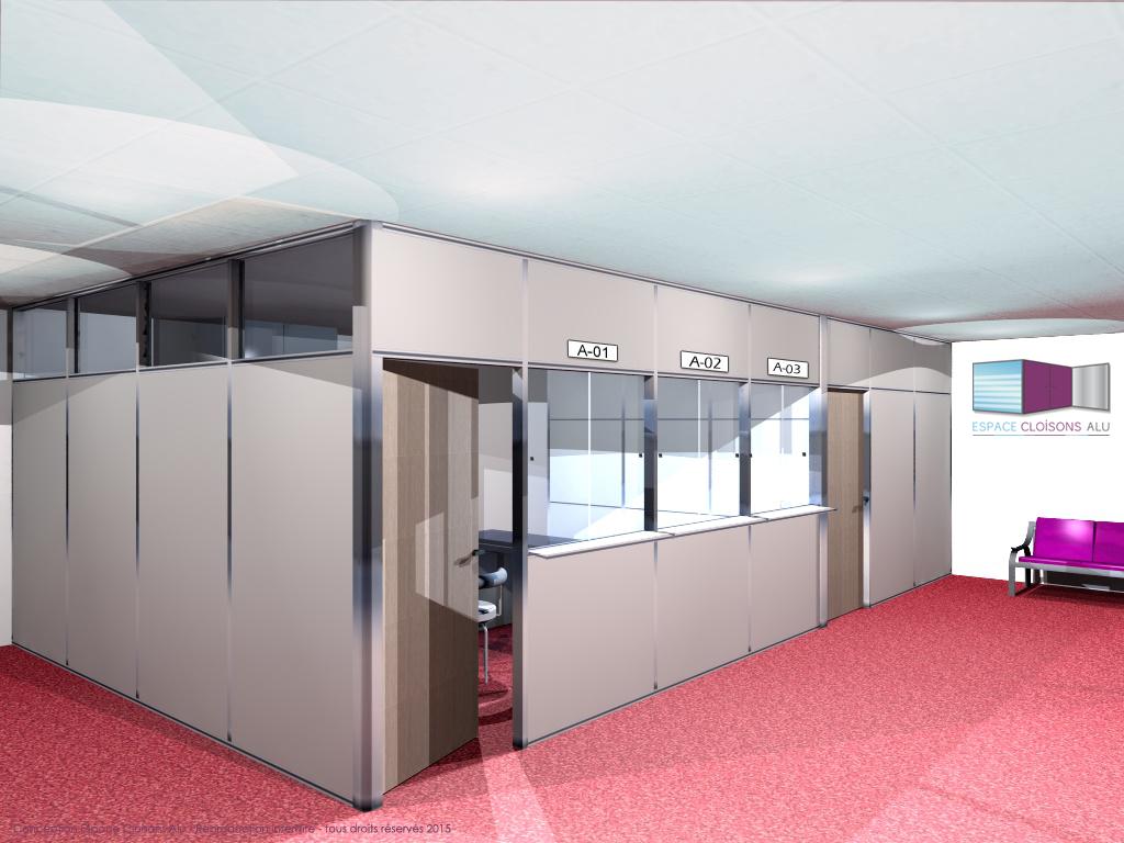 Plan 3D Amenagement de bureau cloisons modulaire du bureau semi vitrée sur allege avec guichet