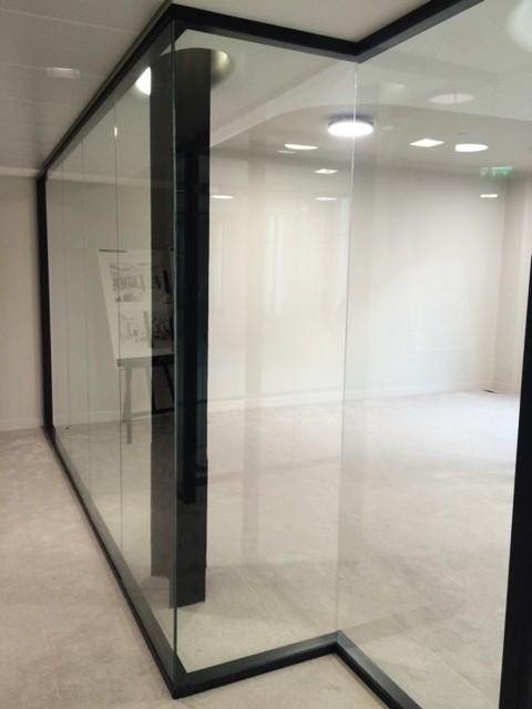 cloisons amovibles de bureau : cloison vitrée toute hauteur - Espace cloisons Alu